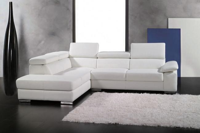 canapé d'angle en cuir italien 5 places helios, blanc, angle gauche