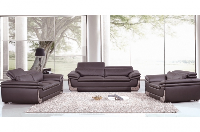 ensemble canapé 3 places et 2 places et fauteuil 1 place en cuir italien buffle italina, chocolat avec surpiqure blanche