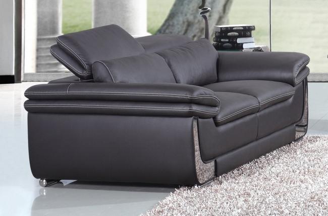 canapé 2 places en cuir italien buffle italina, noir avec surpiqure blanche