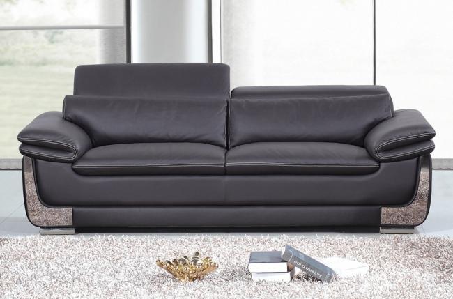 canapé 3 places en cuir italien buffle italina, noir avec surpiqure blanche