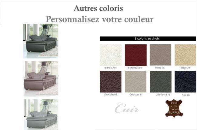 canapé 2 places en cuir italien buffle italina, couleurs personnalisées avec surpiqure