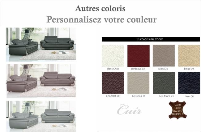 ensemble canapé 3 places et 2 places en cuir italien buffle italina, couleurs personnalisées avec surpiqure