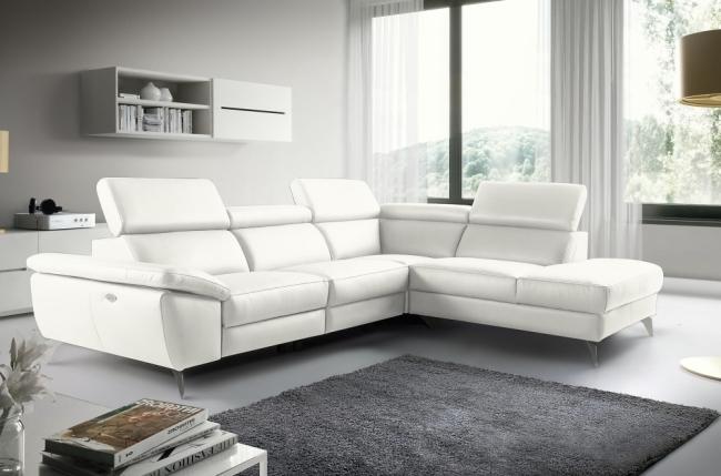 canapé d'angle relax en 100% tout cuir épais de luxe italien avec relax électrique, 5/6 places kaster, blanc cassé, angle droit