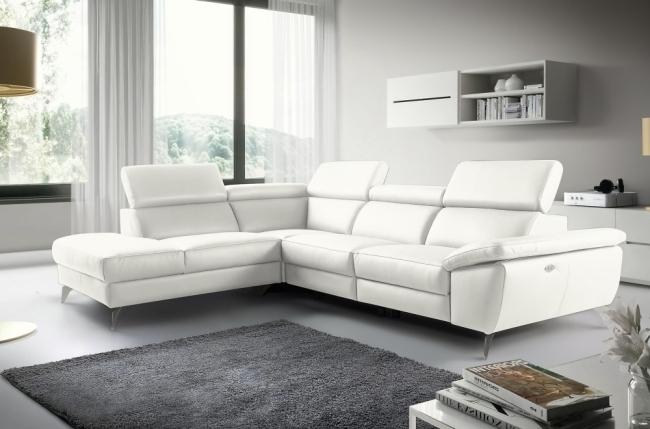 canapé d'angle relax en 100% tout cuir épais de luxe italien avec relax électrique, 5/6 places kaster, blanc cassé, angle gauche