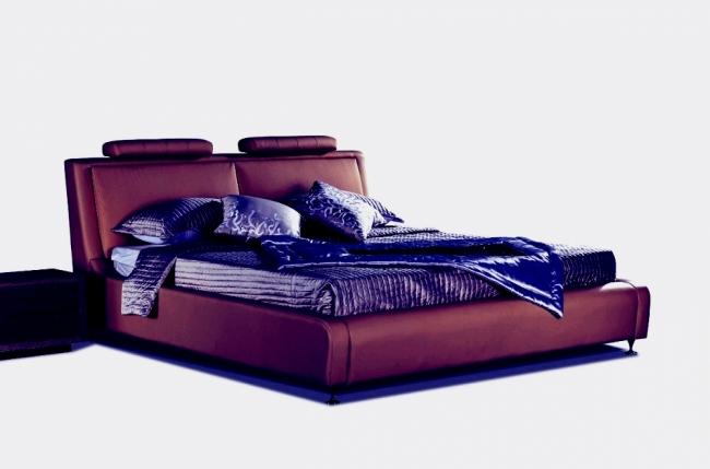 lit en cuir italien de luxe livourne 160x200, chocolat