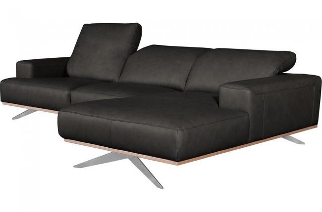 canapé d'angle en 100% tout cuir épais de luxe italien 5/6 places porto, noir, angle droit