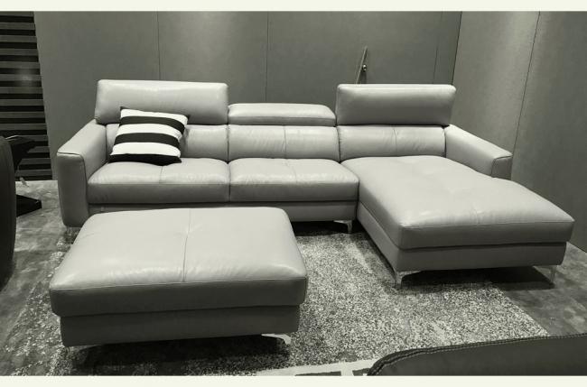 canap d 39 angle en cuir buffle italien de luxe 5 places armano gris clair angle droit. Black Bedroom Furniture Sets. Home Design Ideas