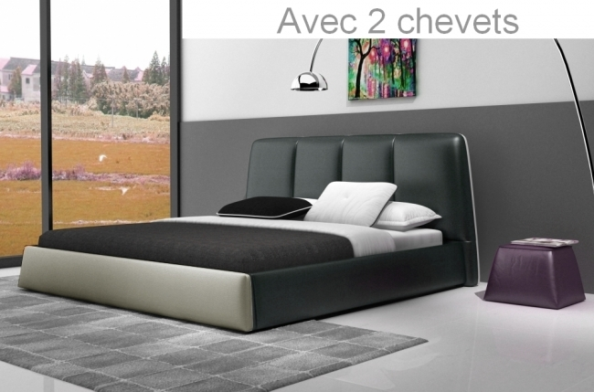 lit design en cuir italien de luxe verdi gris fonc et gris clair 160x200 avec 2 chevets. Black Bedroom Furniture Sets. Home Design Ideas