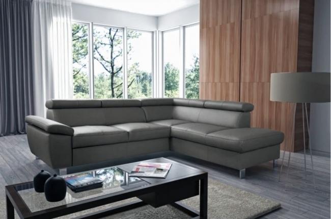 canapé d'angle en cuir italien de luxe 5 places lutece gris foncé, angle droit