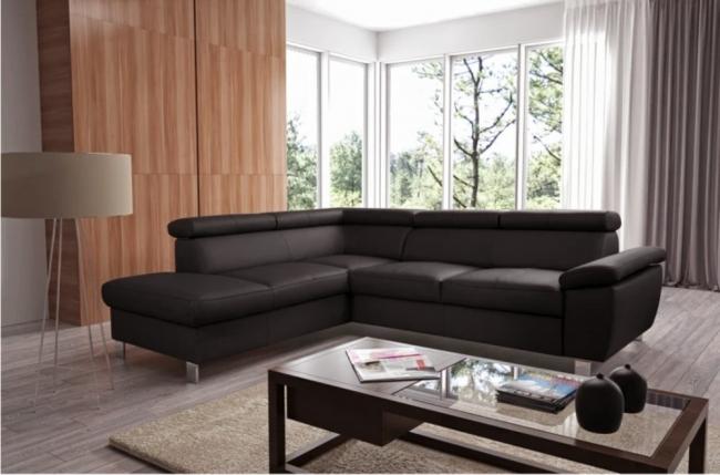 canapé d'angle en cuir italien de luxe 5 places lutece chocolat, angle gauche