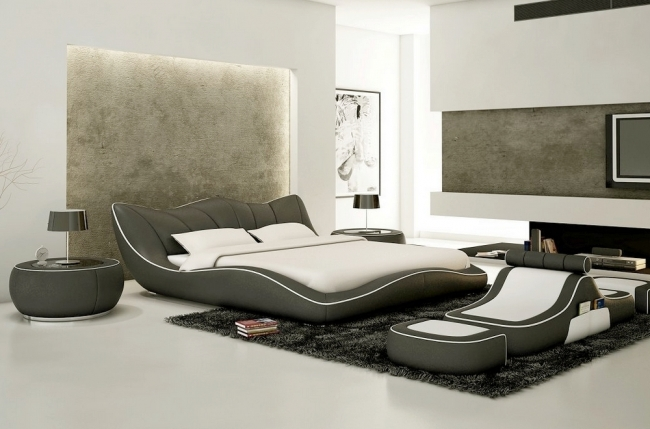 lit en cuir italien de luxe luxen gris fonc mobilier priv. Black Bedroom Furniture Sets. Home Design Ideas