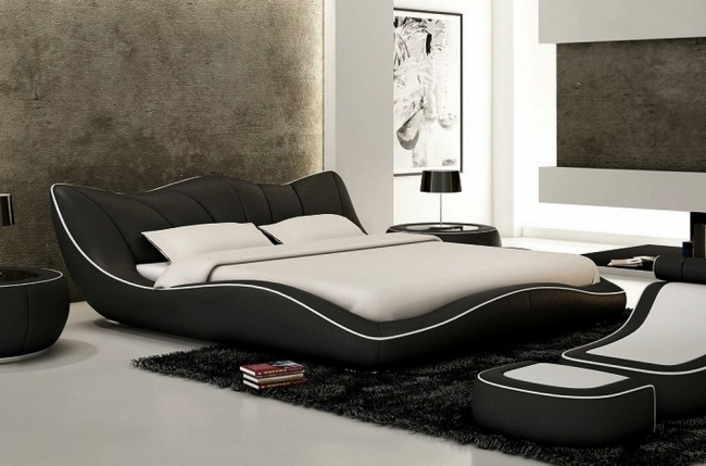 lit en cuir italien de luxe luxen noir mobilier priv. Black Bedroom Furniture Sets. Home Design Ideas