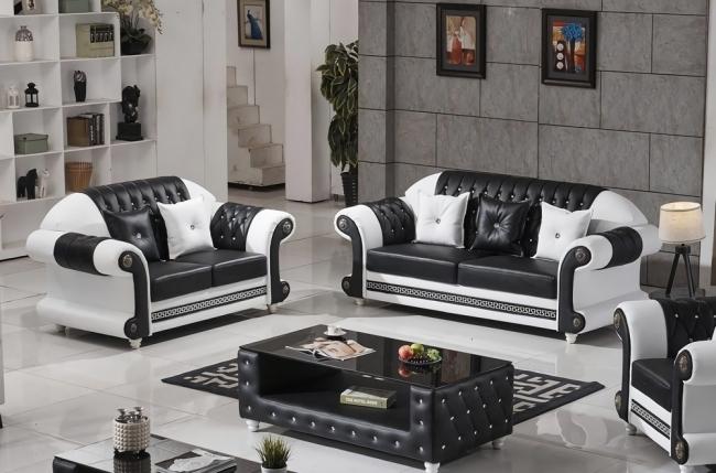 ensemble canapé 3 places et 2 places en cuir italien vachette luxor, noir et blanc