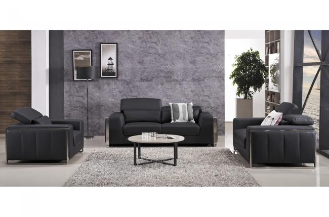 ensemble canapé 3 places et 2 places et fauteuil 1 place en cuir italien buffle luxy, noir