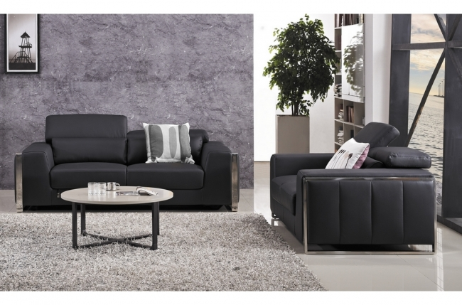 ensemble canapé 3 places et 2 places en cuir italien buffle luxy, noir
