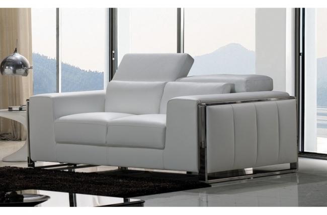 canapé 2 places en cuir italien buffle luxy, blanc
