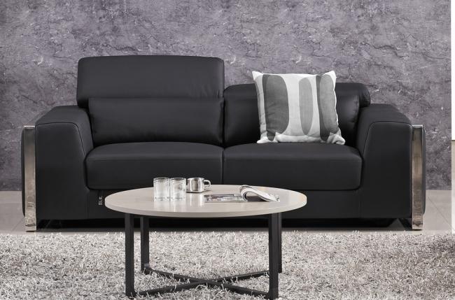 canapé 3 places en cuir italien buffle luxy, noir