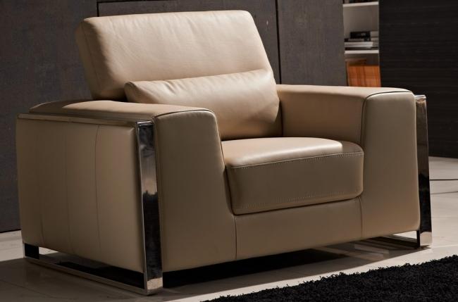 fauteuil 1 place en cuir italien buffle luxy, beige