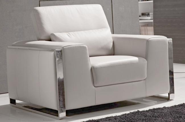 fauteuil 1 place en cuir italien buffle luxy, blanc