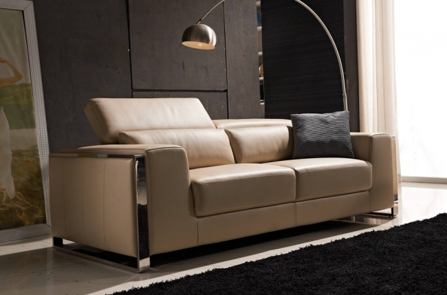 canapé 3 places en cuir italien buffle luxy, beige