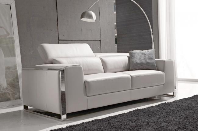 canapé 3 places en cuir italien buffle luxy, blanc