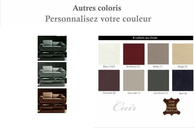 canapé 3 places en cuir italien buffle luxy, couleur personnalisée