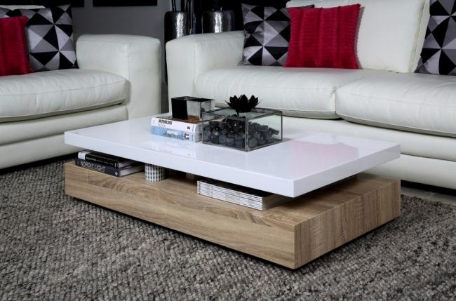 table basse design, dessus en bois laqué blanc martens