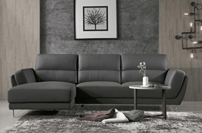 canapé d'angle de luxe 5 places costa, coloris gris foncé, angle gauche
