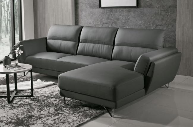 canapé d'angle de luxe 5 places costa, gris foncé, angle droit