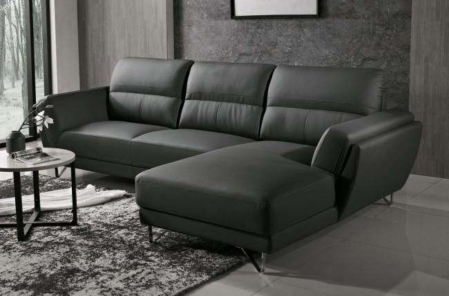 canapé d'angle de luxe 5 places costa, noir, angle droit