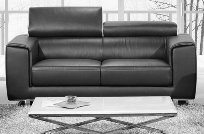 canapé 2 places en cuir italien buffle milano, noir avec liseret blanc