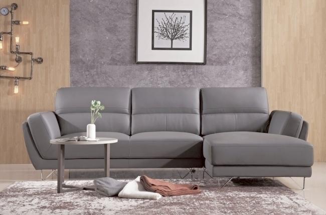 canapé d'angle en cuir buffle italien de luxe 5 places costes, moka angle droit