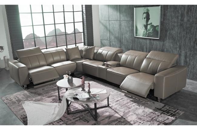 canapé d'angle relax en cuir de buffle italien de luxe avec 2 relax électriques, 7/8 places, monte carlo, couleur moka, angle gauche