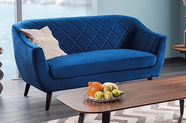 canapé montini 2 places en tissu de qualité, couleur bleu foncé