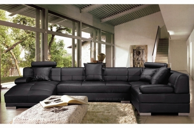 canapé d'angle en cuir italien 8 places napoli, noir, angle droit