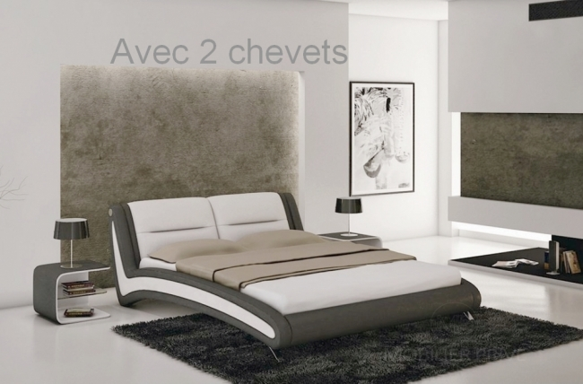 lit en cuir italien de luxe nighty blanc gris fonc. Black Bedroom Furniture Sets. Home Design Ideas