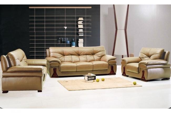 ensemble oxford 3 pièces: composé d'un canapé 3 places + 2 places + fauteuil en cuir luxe italien vachette, beige