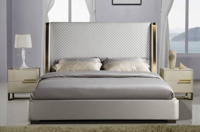 lit design de luxe perfecto, avec sommier à lattes, gris clair , 140x190