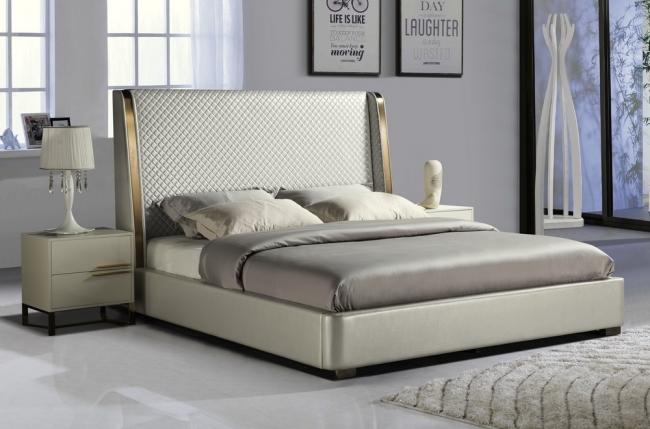 lit design de luxe perfecto, avec sommier à lattes, gris clair , 180x200