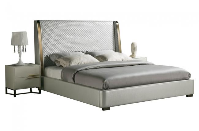 lit design de luxe perfecto, avec sommier à lattes, gris clair pastel, 140x200