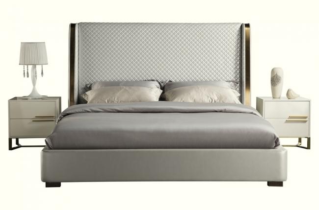 lit design de luxe perfecto, avec sommier à lattes, gris clair, 160x200