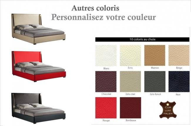 lit design de luxe perfecto, avec sommier à lattes, couleur personnalisée, 180x200