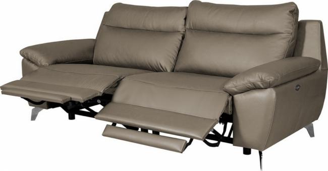 canapé taille 2 places avec 2 relax en 100% tout cuir épais de luxe italien avec 2 relax électriques, perini, taupe