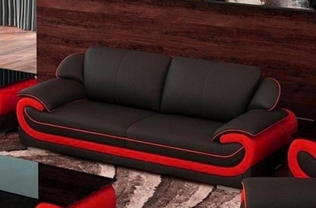 canapé 3 places en cuir italien vachette candide noir et rouge
