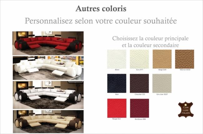 canapé d'angle en cuir italien 5/6 places petit excelia, couleur personnalisée, angle gauche
