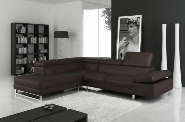 canapé d'angle en cuir italien 5/6 places - petit george, chocolat, angle gauche