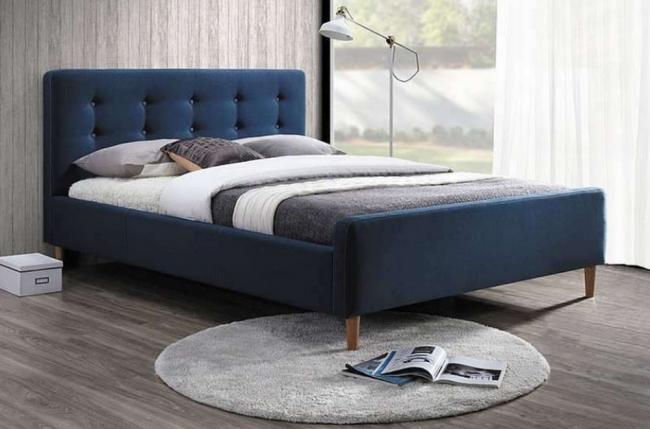 lit double en tissu de qualité piala, bleu, avec sommier à lattes, 160x200