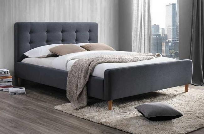 lit double en tissu de qualité piala, gris, avec sommier à lattes, 160x200