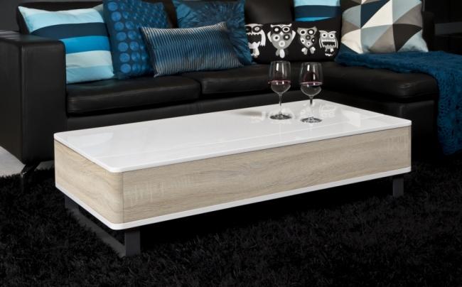 Mobilier Laque Contemporain Table Basse : Table basse design réglable en bois laqué brillant blanc