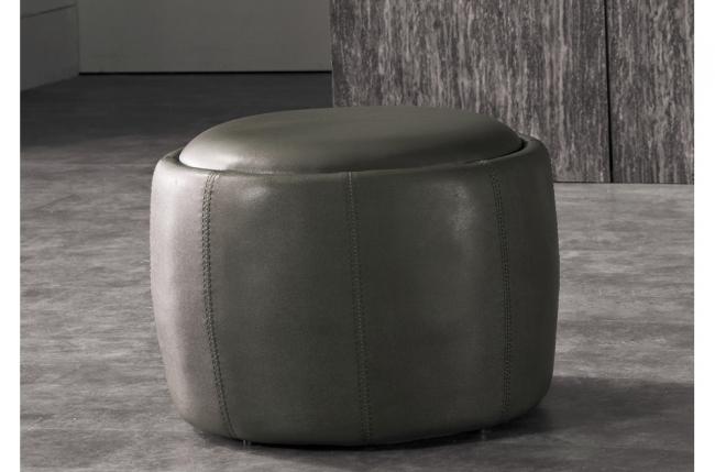 pouf rond buffalino en cuir de buffle (gamme de cuir de buffle), gris foncé